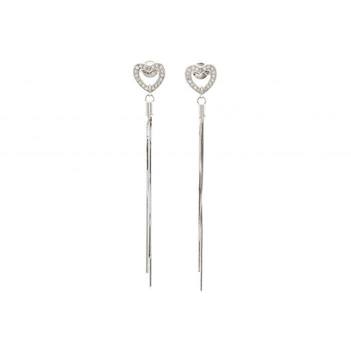 Kolczyki srebrne długie z sercami