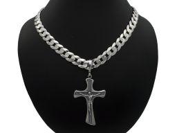 Srebrny krzyżyk męski z figurką Jezusa oksydowany