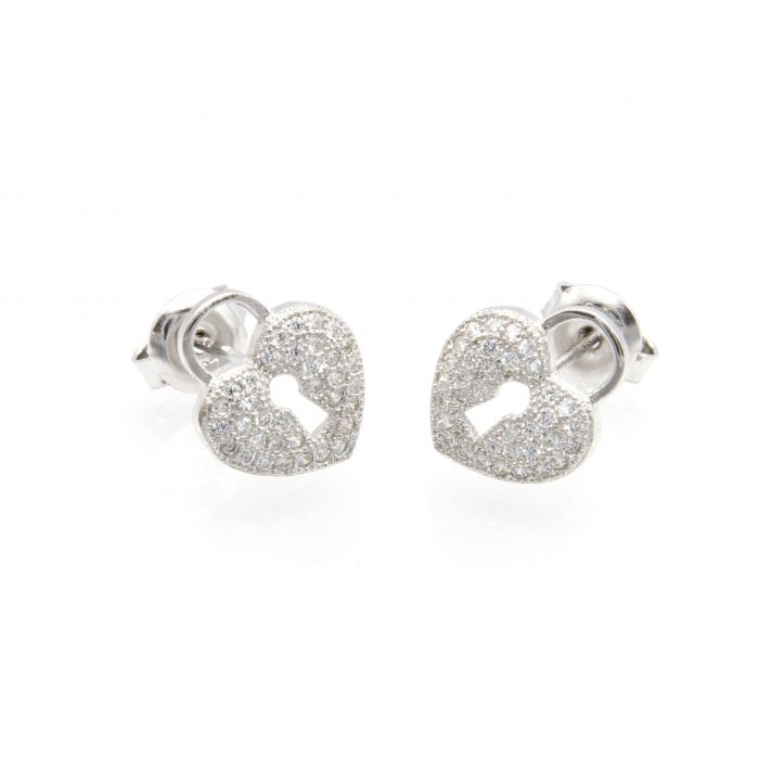 Kolczyki srebrne kłódka w kształcie serca