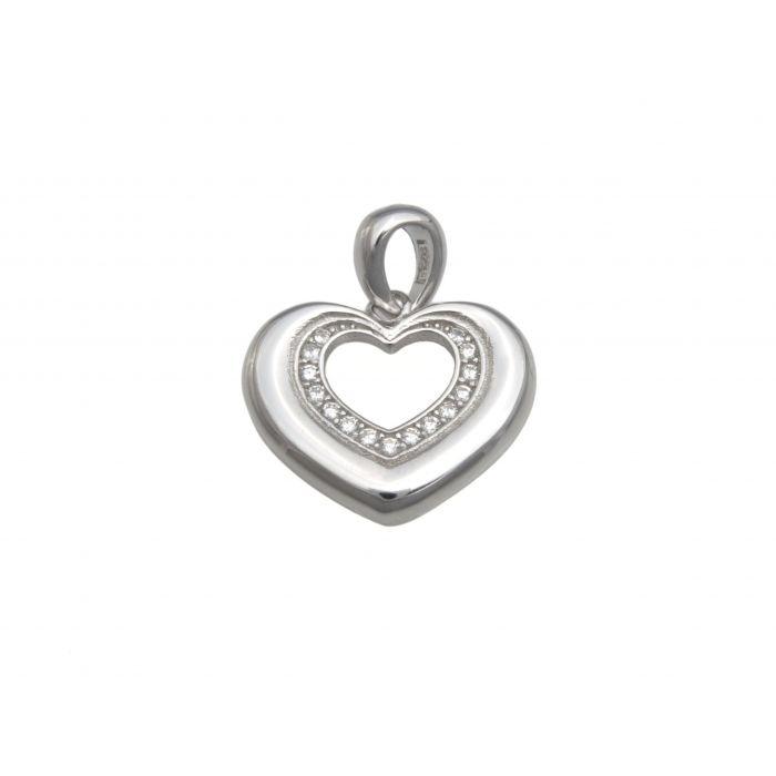 Wisiorek srebrny - serce z cyrkoniami