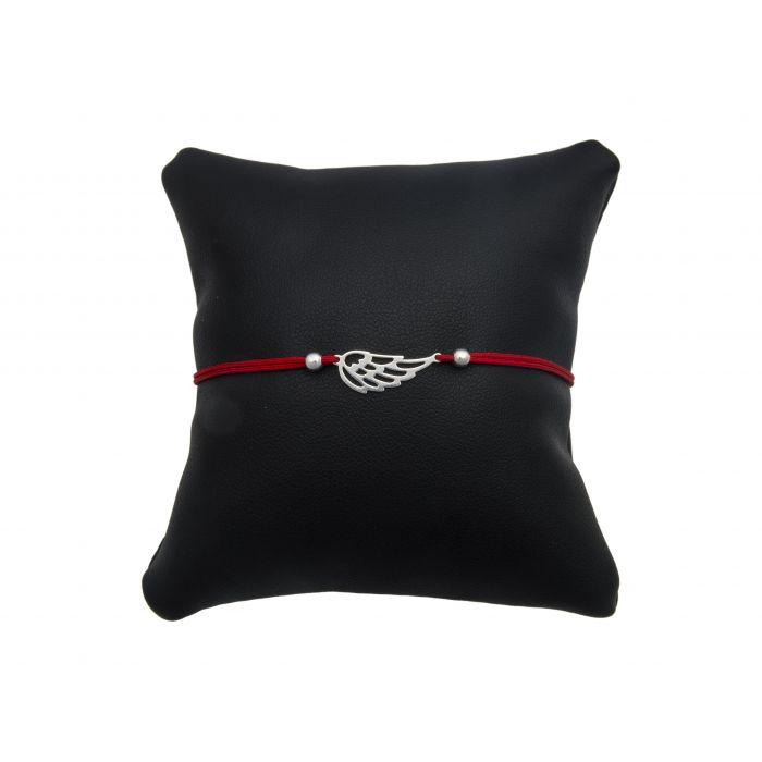 Bransoletka na czerwonym sznureczku - skrzydełko ażurowe