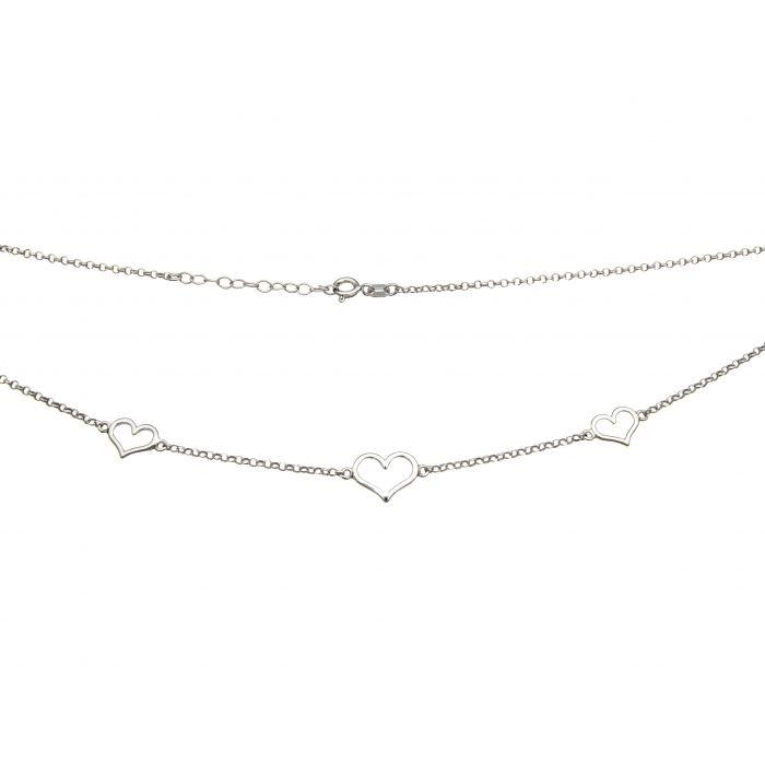 Naszyjnik srebrny rodowany z serduszkami