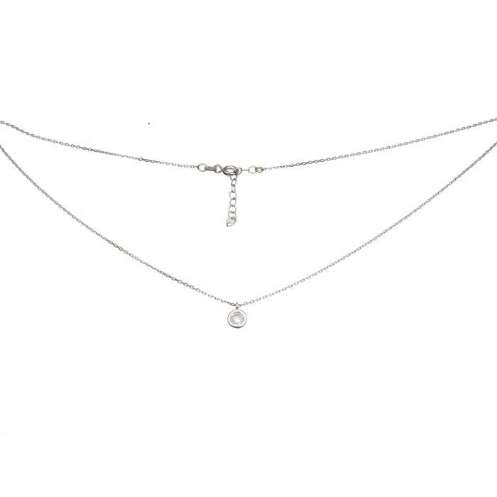 Naszyjnik srebrny rodowany z kryształkiem
