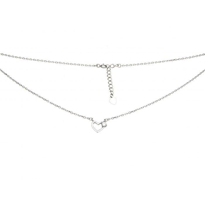 Naszyjnik srebrny rodowany - serce z cyrkonią