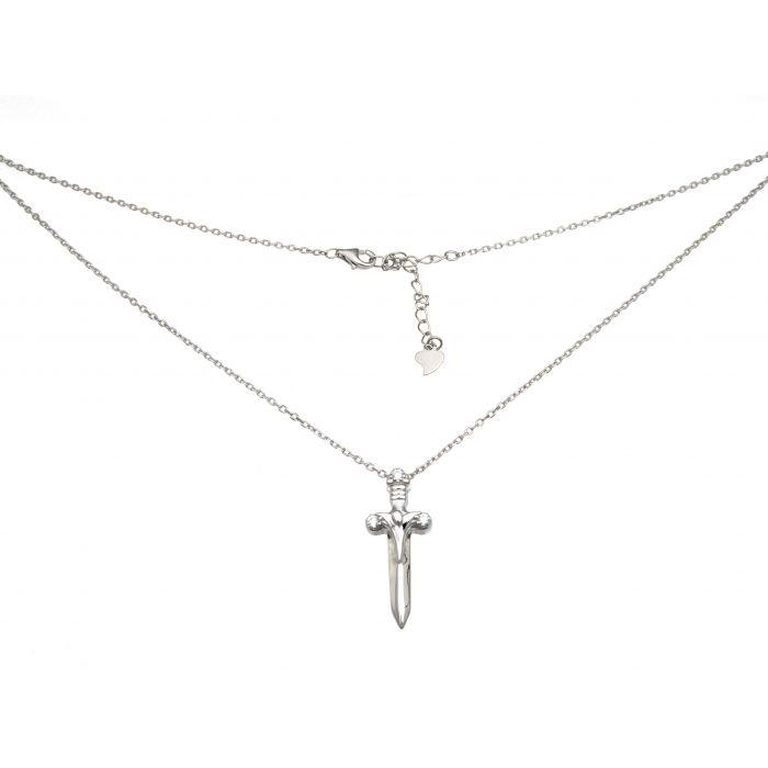 Naszyjnik srebrny rodowany - sztylet