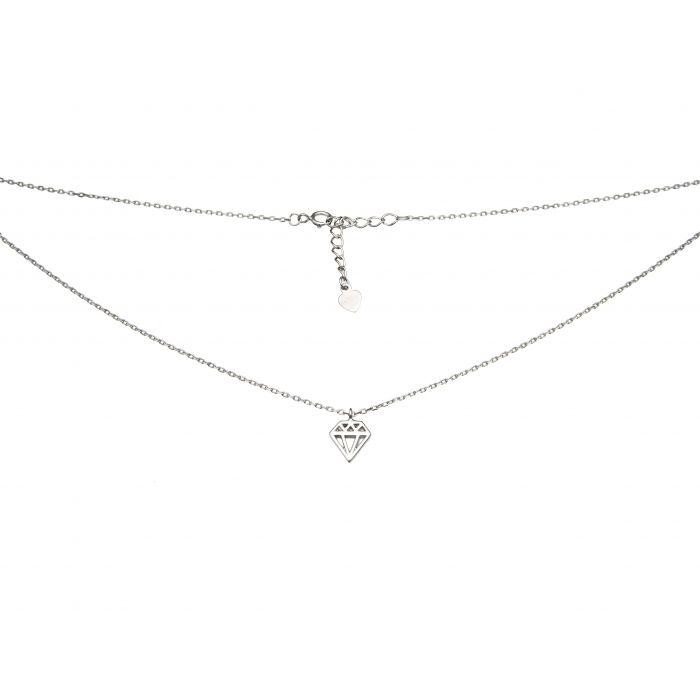 Naszyjnik srebrny rodowany - diament