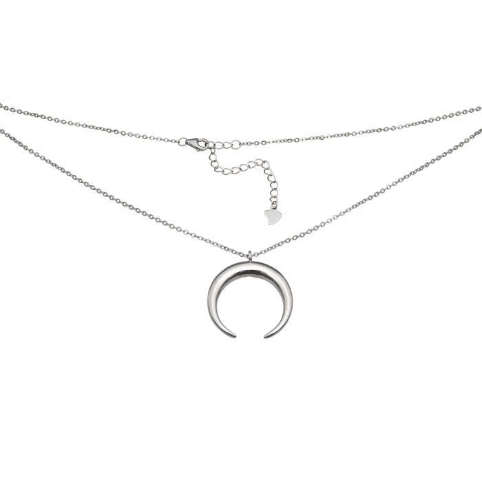 Naszyjnik srebrny rodowany - księżyc