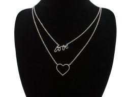 Naszyjnik srebrny rodowany - LOVE z sercem