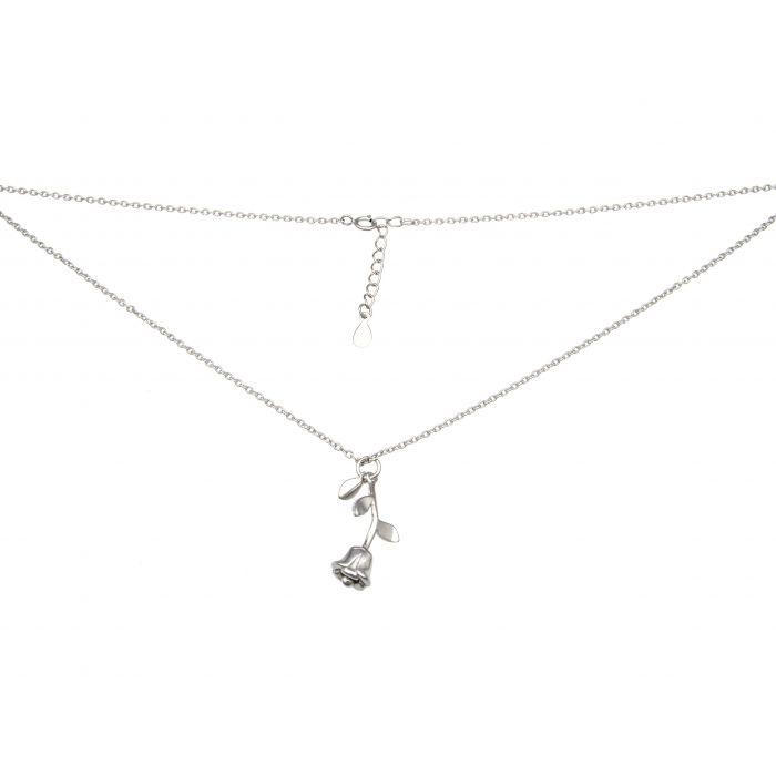Naszyjnik srebrny rodowany z różą