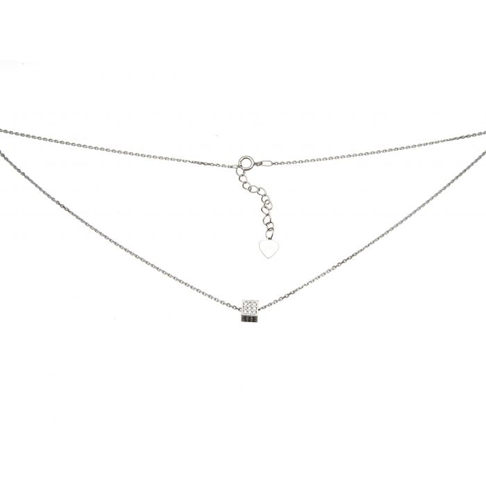 Naszyjnik srebrny rodowany - kostka