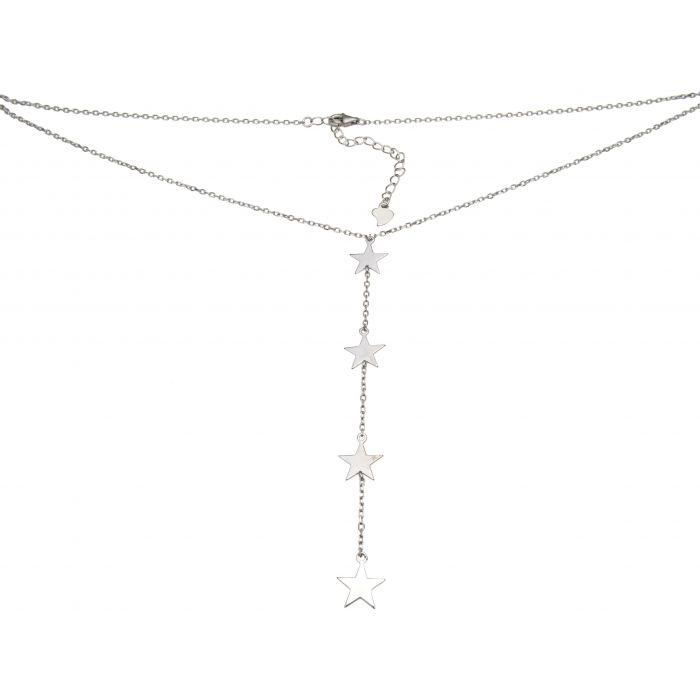 Naszyjnik srebrny rodowany z gwiazdkami