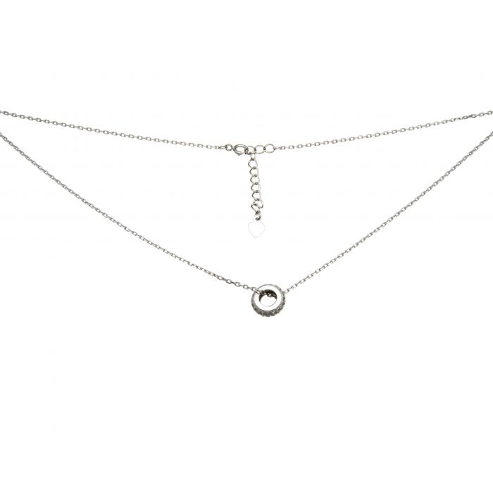 Naszyjnik srebrny rodowany z kółeczkiem