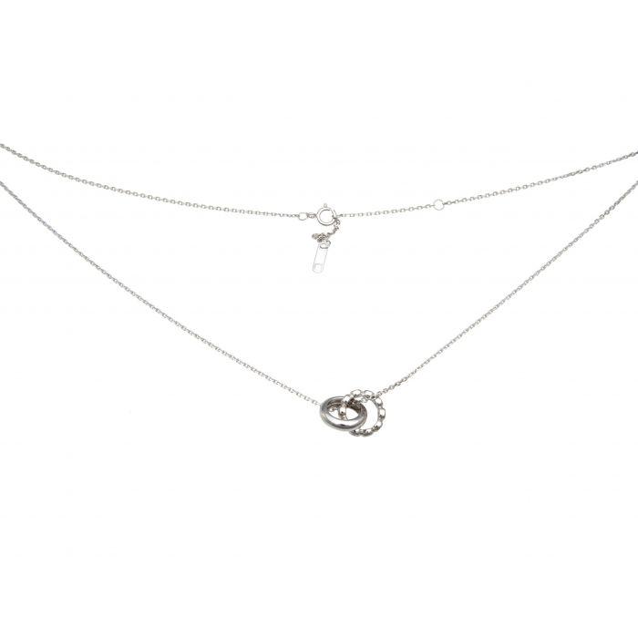 Naszyjnik srebrny rodowany z kółeczkami