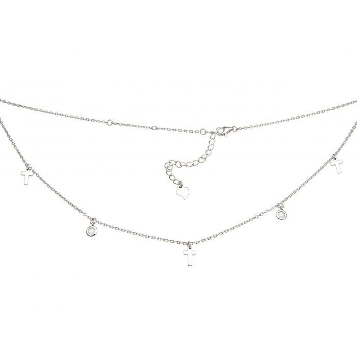 Naszyjnik srebrny rodowany z krzyżykami