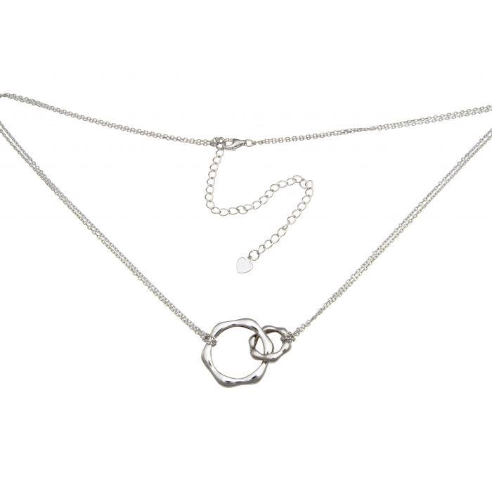 Naszyjnik srebrny rodowany z kółkami