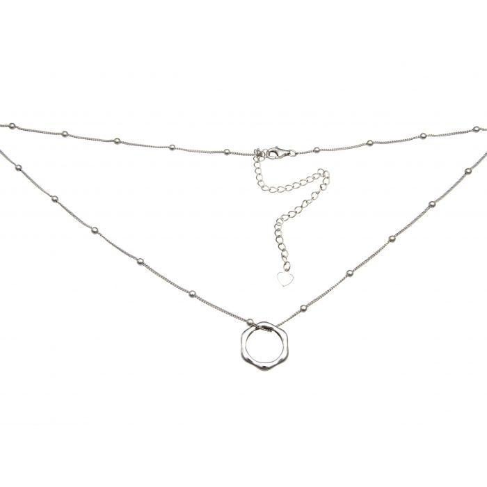 Naszyjnik srebrny rodowany z kółkiem