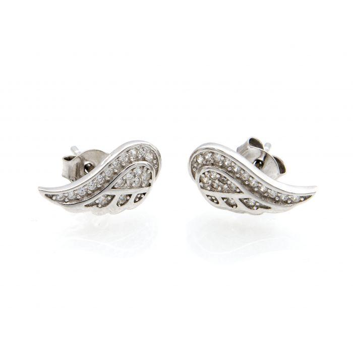 Kolczyki srebrne skrzydła z cyrkoniami
