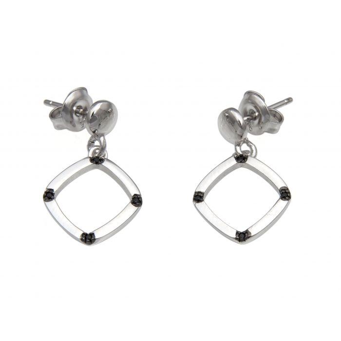 Kolczyki srebrne romby z czarnymi cyrkoniami