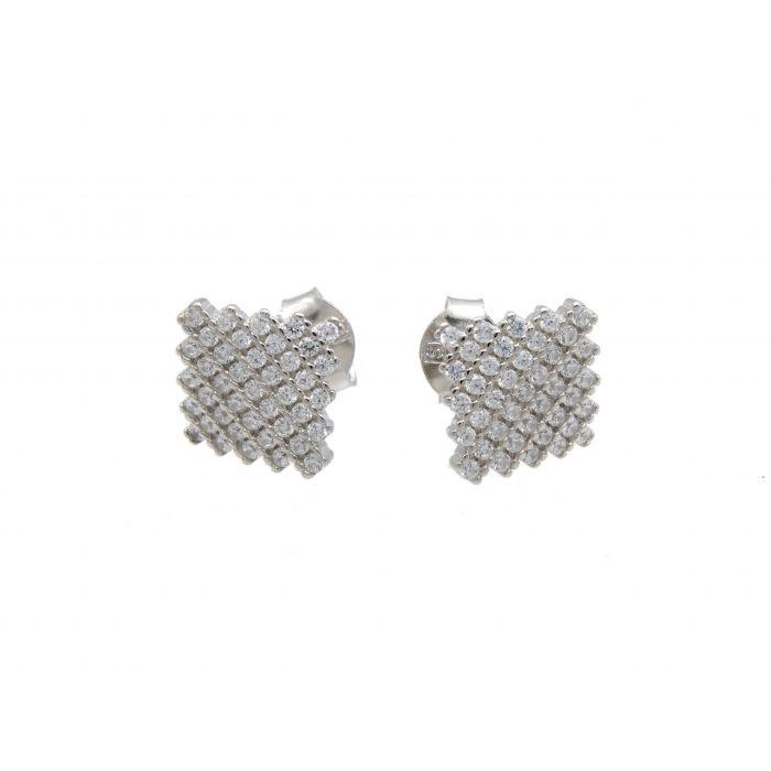 Kolczyki srebrne - romby z cyrkoniami