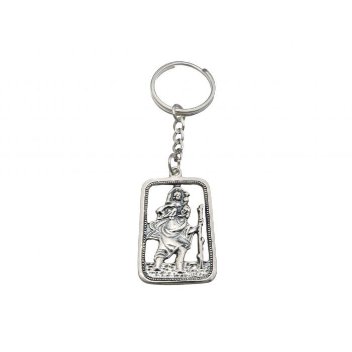 Srebrny brelok z wizerunkiem św. Krzysztofa