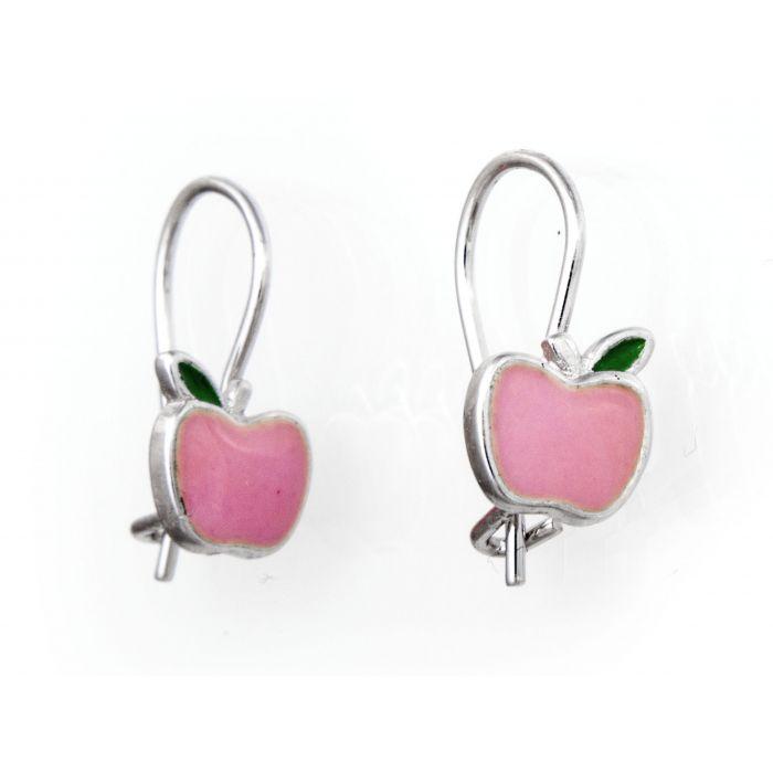 Kolczyki srebrne - różowe jabłuszka