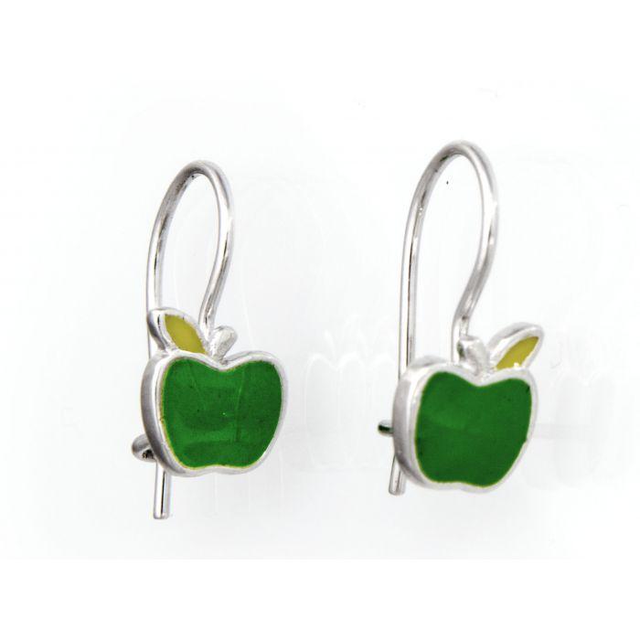 Kolczyki srebrne - zielone jabłuszka