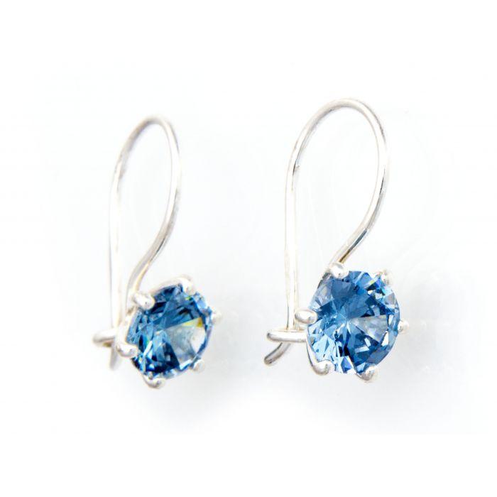 Kolczyki srebrne z niebieskim kryształkiem