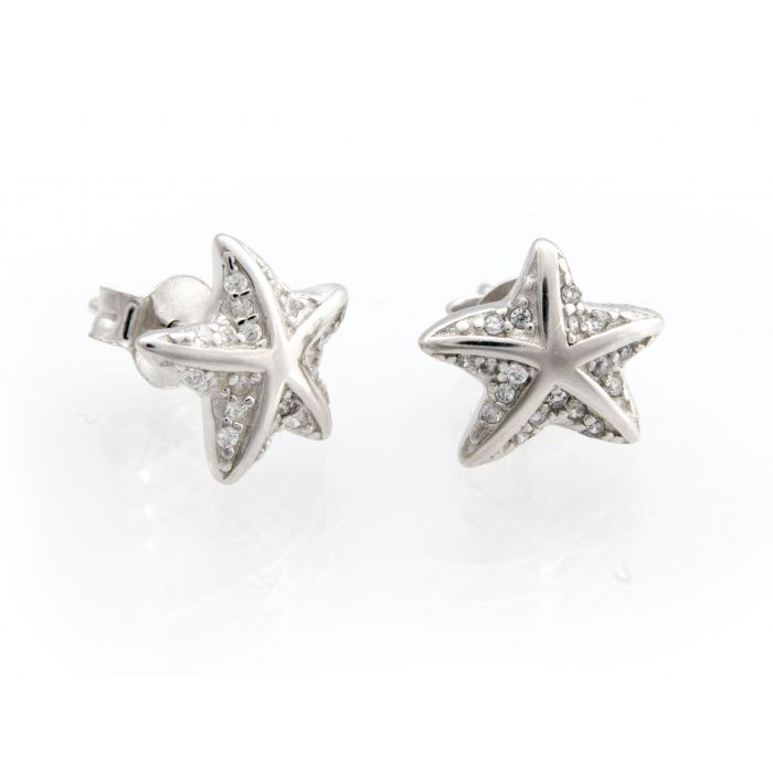 Kolczyki srebrne - rozgwiazdy z cyrkoniami