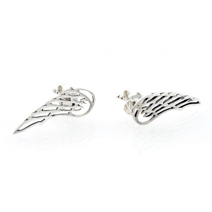 Kolczyki srebrne - skrzydła - oksydowane