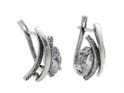 Kolczyki srebrne oksydowane z cyrkonią