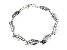 Bransoletka srebrna oksydowana - liście