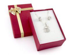 Komplet biżuterii srebrnej - kotki