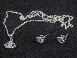 Komplet biżuterii srebrnej - korona