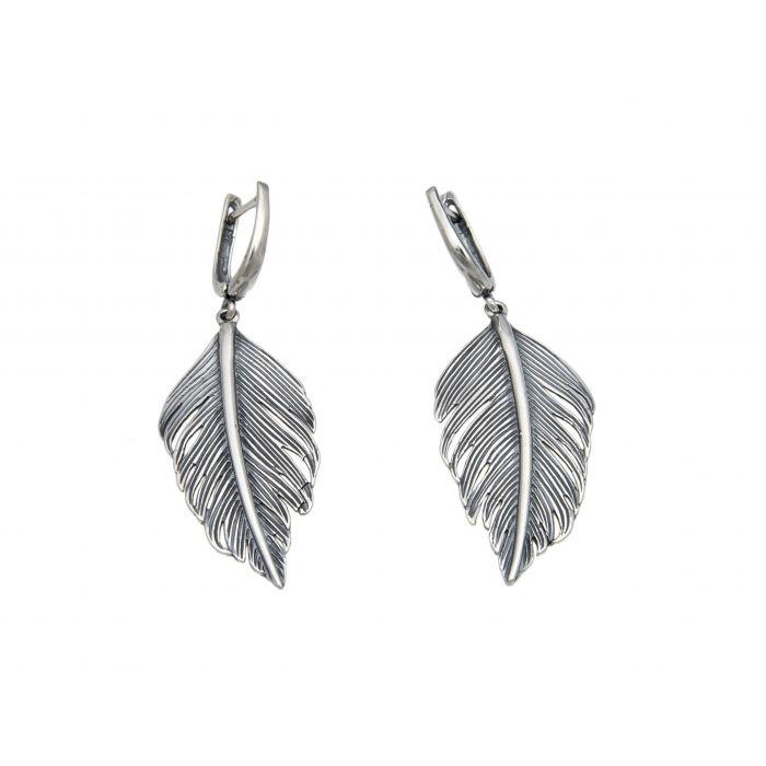 Kolczyki srebrne - pióra
