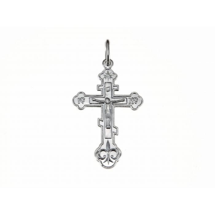 Srebrny krzyżyk prawosławny z figurką Jezusa