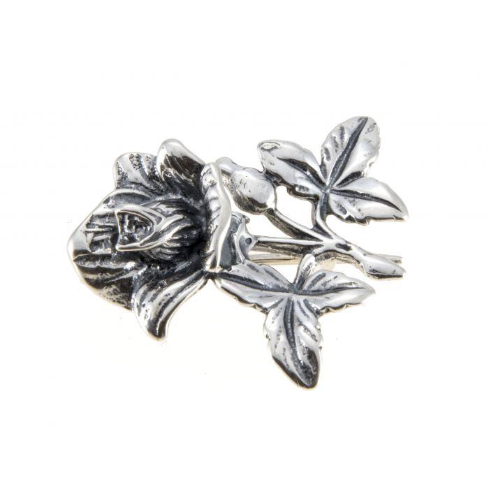 Broszka srebrna - róża