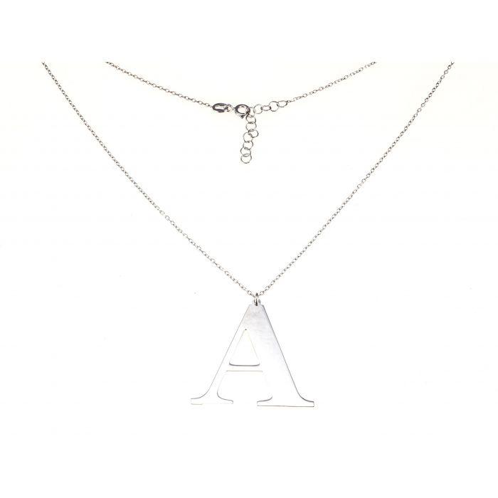 Naszyjnik srebrny rodowany - litera A