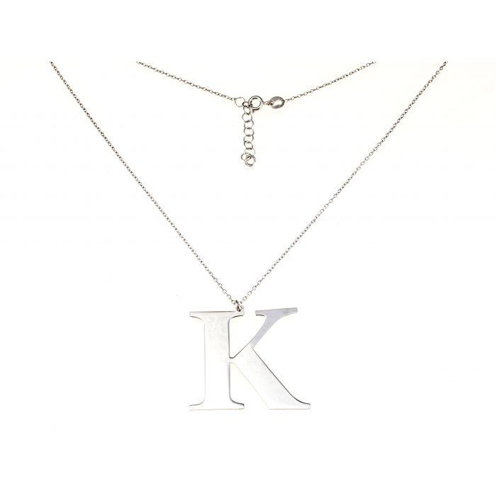Naszyjnik srebrny rodowany - litera K