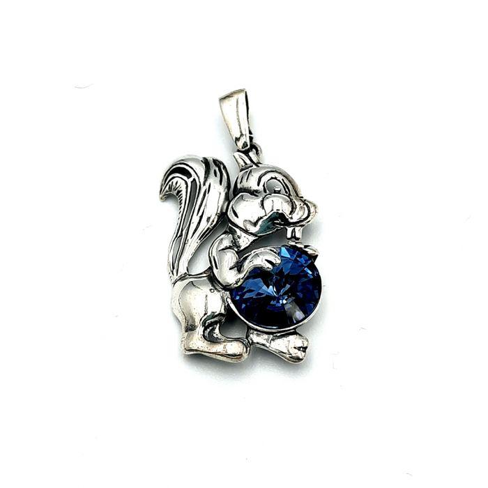 Wisiorek srebrny w kształcie wiewiórki z kryształem Swarovskiego