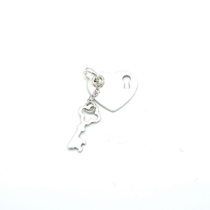 Wisiorek srebrny serce i kluczyk