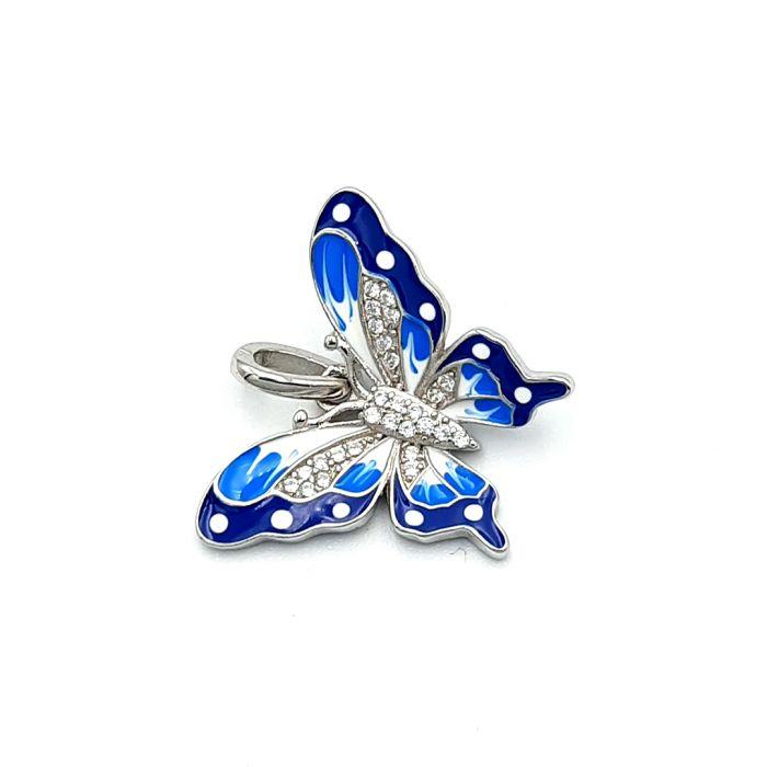 Wisiorek srebrny kolorowy motyl