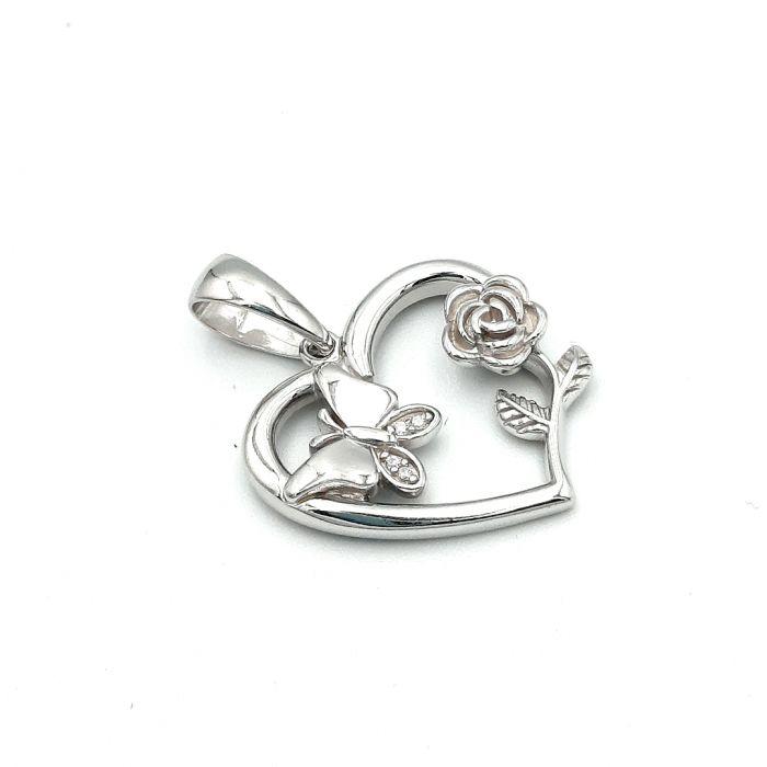 Wisiorek srebrny serce  z różą i motylem