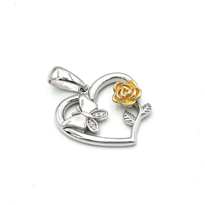 Wisiorek srebrny serce  z różą pozłacaną i motylem
