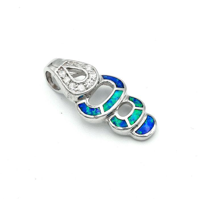 Wisiorek srebrny z opalem i cyrkoniami