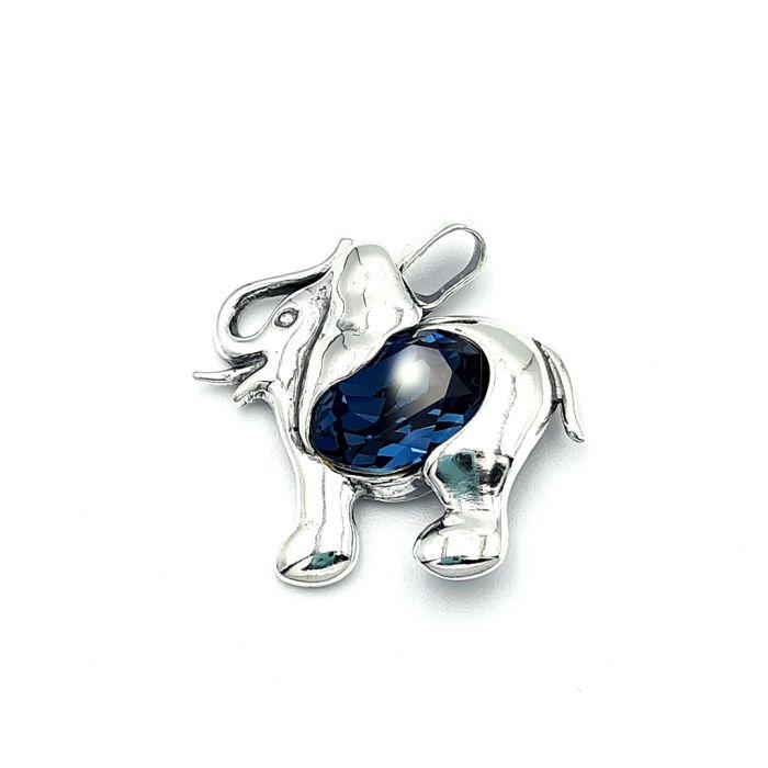 Wisiorek srebrny w kształcie słonik z kryształem Swarovskiego
