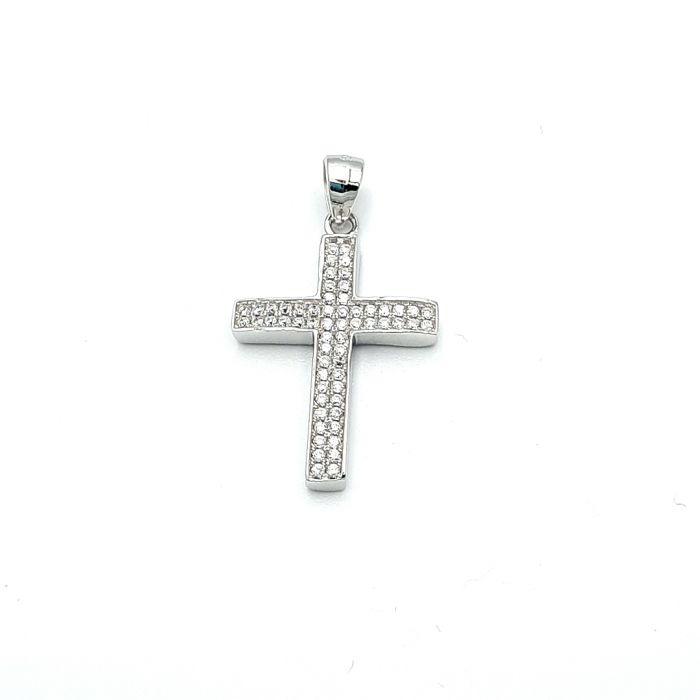 Krzyżyk srebrny z cyrkoniami