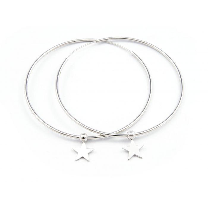 Koła z gwiazdkami 6cm - kolczyki srebrne rodowane