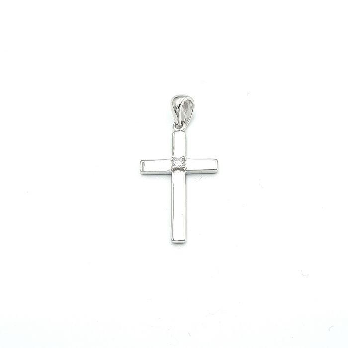 Krzyżyk srebrny z cyrkonią