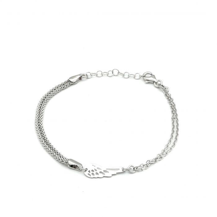 Bransoletka srebrna rodowana - skrzydło