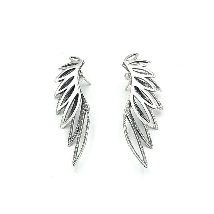 Kolczyki srebrne duże skrzydła